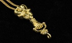 Antique Victorian Clasped Hand Long Guard or Watch Chain Necklace in Solid Gold, Add Pendant, Charms or Fobs
