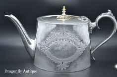 SUPERB Antique Victorian Silver Plated Oval Engraved Teapot Circa 1850s