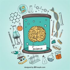 Human brain and science icons illustration