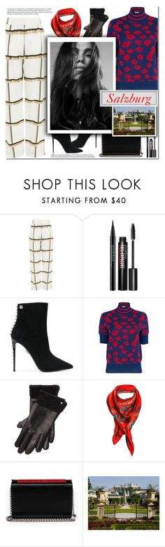 """How to Style a Red Floral Sweater with Black Booties and Windowpane Pants for Travel to Salzburg this Winter"" by outfitsfortravel ❤ liked on Polyvore featuring Topshop, Smashbox, Philipp Plein, Baum und Pferdgarten, Ralph Lauren, Astrid Sarkissian and Christian Louboutin"