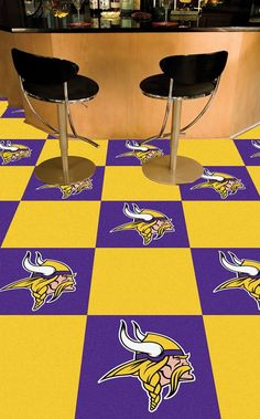 Display your favorite sports team while adding color and style to any room in your home with these Minnesota Vikings Team Carpet Tiles by Fanmats. These team carpet tiles are officially licensed and i