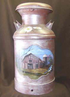 Country Kitchen hand painted milk can by Keepthesmile on Etsy, $400.00