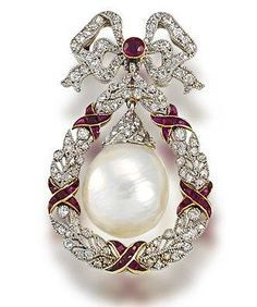 A natural freshwater pearl heyday, ruby and diamond brooch, circa 1905