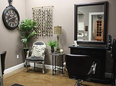 Home Salon Idea- i like the idea of using a piece of furniture with a mirror. It can blend in with the regular decor when not in use.