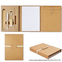 COMFYPACK carnet publicitaire triptyque papeterie en carton  (1) Cardboard Crafts, Paper Crafts, Handmade Books, Handmade Notebook, Notebook Design, Book Binding, Desk Organization, Box Design, Packaging Design