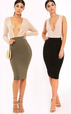 Basic Black & Khaki Jersey Midi Skirt 2 Pack