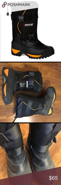 Baffin Wolf Boots Baffin Wolf outdoor winter boots. Rated -40 F - rebound heat liners to keep your feet warm during the coldest winter activities. Adjustable buckles, drawcord snow gaiters at top. Rugged outsoles. Excellent condition. Baffin Shoes Rain & Snow Boots