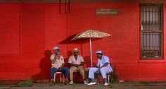 Paul Benjamin, Robin Harris, and Frankie Faison in Do the Right Thing (Spike Lee, 1989)