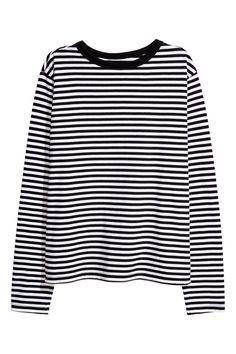 Camiseta de punto con rayas - Negro/Rayas blancas - MUJER | H&M ES 1