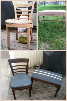 Old chair and bench re do, burlap and lace