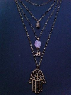 Friendship Necklace  Hamsa Hand Protection by RedGypsyJewelry