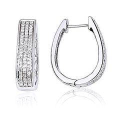 14K White Gold Diamond Large Hinged Oval Hoop Earrings. Carat Wt 0.45ct by JewelryHub on Opensky