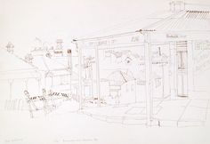 Susan Dorothea White Corner shop, Annandale and Wisdom Street 1977 pen 37 x 54 cm by © Susan Dorothea White Corner, Wisdom, Street, Drawings, Shopping, Sketches, Roads, Draw, Drawing