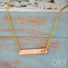 Sorority Bar Necklace - Available in Silver, Gold & Rose Gold | Customize with your sorority letters!