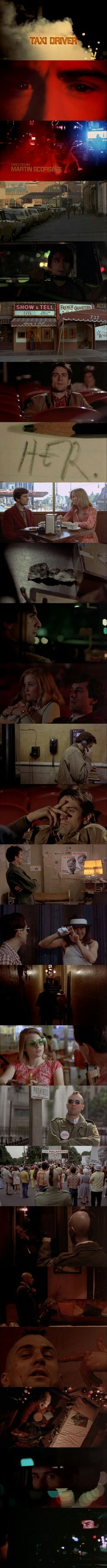 Taxi Driver (1976) Directed by Martin Scorsese. Starring Robert De Niro in leading role as mentally unstable taxi driver Travis Bickle.