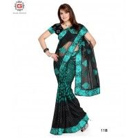 PARTY WEAR SAREE  COLOUR-BLACK OR TURQUOISE  FABRIC-GEORGETTE