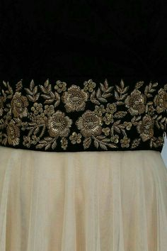 Vineti Bolaki presents Nude and black floral gold zardozi embroidered flared gown available only at Pernia's Pop Up Shop. Zardosi Embroidery, Hand Work Embroidery, Couture Embroidery, Embroidery Suits, Indian Embroidery, Gold Embroidery, Embroidery Fashion, Hand Embroidery Designs, Embroidery Blouses