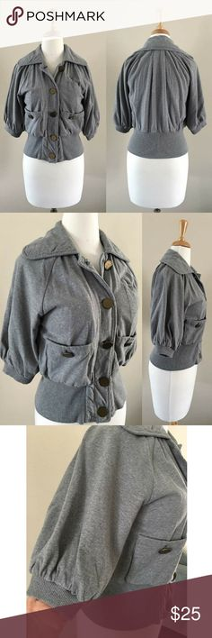 AX Crop Jacket-Small AX Heather Grey button down crop jacket in french terry with rib contrast at sleeve cuff & waist.  Side pocket & small chest picket.  Big antique brass button accent.  Size-Small. Gently worn Armani Exchange Jackets & Coats Blazers