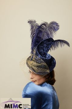 by Catherine Storm. Finalist in the 2019 Melbourne International Millinery Competition (MIMC). Fascinator, Headpiece, Tally Ho, Spring Racing, Melbourne, Competition, Captain Hat, Unique, Color