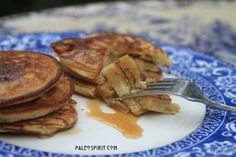 {Paleo} Coconut Flour Pancakes. These are delicious! I made half a batch and topped them with an almond butter sauce (almond butter, unsweetened almond milk, maple syrup and cinnamon). This might be my go-to pancake recipe moving forward.