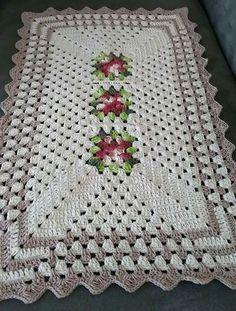 Fractal Crochet pattern by Foxberryjam Crochet Table Runner, Crochet Tablecloth, Crochet Doilies, Crochet Flowers, Crochet Squares, Crochet Granny, Filet Crochet, Knit Crochet, Crochet Kitchen