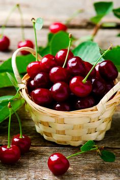 Ripe cherries in a basket on a wooden table. style rustic. selective focus