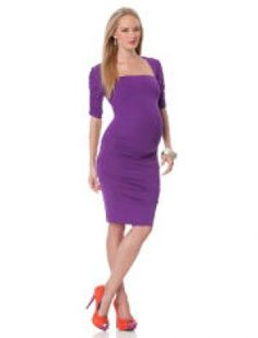 Nicole Miller Elbow Sleeve Square Neck Maternity Dress.jpg