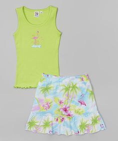 Take a look at this Lime Tank & Tropical Skort - Toddler & Girls on zulily today!