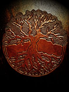 "Leather ""Tree of Life"" by John Black Sewing Leather, Leather Pattern, Leather Carving, Leather Tooling, Diy Leather Projects, Leather Crafts, Tree Patterns, Canvas Crafts, Leather Design"
