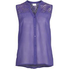 Vila Ritea Top (48 BRL) ❤ liked on Polyvore featuring tops, shirts, tank tops, blouses, tanks, deep blue, dark blue top, purple chiffon top, chiffon tank and dark blue shirt