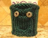 Emerald Green Knitted Coffee Cozy