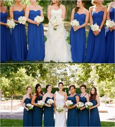 Royal Blue/Saphire Blue Bridesmaids. These pics really help see the color contrast. Pretty!