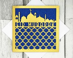 Eid Mubarak Card, Handmade Gifts, Cards, Etsy, Vintage, Kid Craft Gifts, Hand Made Gifts, Craft Gifts, Maps