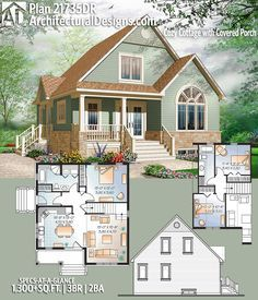 Plan Cozy Cottage with Covered Porch Architectural Designs House Plan gives you 3 beds, 2 baths and over square feet of heated living space. Cottage House Plans, Cottage Homes, Cottage Kitchens, Architectural Design House Plans, Architecture Design, Porch Architecture, Small Farmhouse Plans, Modern Farmhouse, Sims House Plans