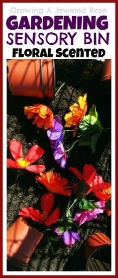 Gardening scented sensory bin & pretend flower shop.  The bin smells just like Spring!