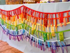 rainbow ribbon garland