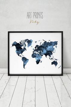 Acuarela de mapa mundo impresión, viaje mapa, mapa grande del mundo, acuarela de mapa mundo, mapa pintura acuarela grabada, casa decoración, ArtPrintsVicky.