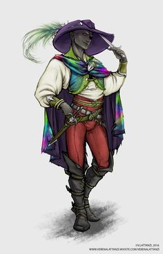 m Drow Elf Rogue Arcane Trickster Cloak Hat Daggers male urban City Traveler river coastal upper worlder Jarlaxle Baenre by DeviantArt lg Dungeons And Dragons Characters, Dnd Characters, Fantasy Characters, Fantasy Figures, Character Concept, Character Art, Character Design, Character Ideas, Concept Art