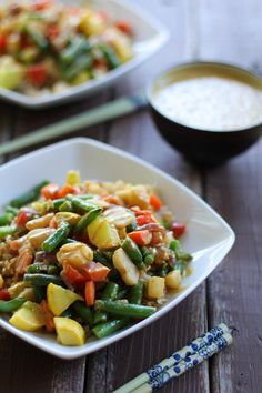 This Vegetable Stir Fry with Thai Peanut Sauce combines fresh yellow squash, green beans, water chestnuts, and more to create a healthy and delicious meatless dinner recipe. Easily clean up drips and mess with Bounty Paper Towels. Top Recipes, Vegetable Recipes, Asian Recipes, Whole Food Recipes, Vegetarian Recipes, Cooking Recipes, Healthy Recipes, Dinner Recipes, Healthy Snacks