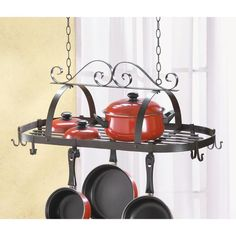 Wrought Iron Hanging Pots and Pans Holder Kitchen Organizer Pot Rack Hanging, Hanging Pots, Hanging Organizer, Hanging Storage, Shelf Holders, Pot Holders, Tabletop, Pot And Pan Lids, Ceiling Hangers