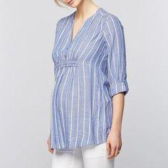 Bump Closet Striped Shirts Sleeve V Neck Blouse Casual Maternity Fashion Dresses, Stylish Maternity, Maternity Tops, Stylish Pregnancy, Pregnancy Outfits, Pregnancy Shirts, Outfits With Striped Shirts, Dress Shirts For Women, V Neck Blouse