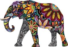 Thorpe Signs LARGE Abstract Elephant Full Colour Wall Sticker Vinyl Decal Wall Art Transfer (Large: x x Elephant Colour, Colorful Elephant, Elephant Pattern, Elephant Images, Elephant Art, Elephant Theme, Elephant Pictures, Elephant Parade, Pink Elephant