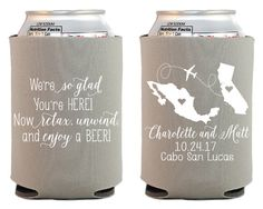 New To SipHipHooray On Etsy Destination Wedding Koozies Favor Personalized Coozies