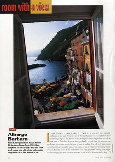 "25 Years of ""Room with a View"" Photos : Condé Nast Traveler::  ROOM 8  CINQUE TERRE, ITALY  April 2000"