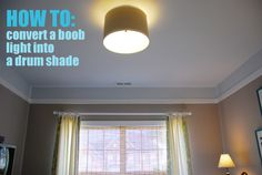 DIY: a plain light into a drum shade. Going to redo the light fixture in the girls' room with a pretty shade.
