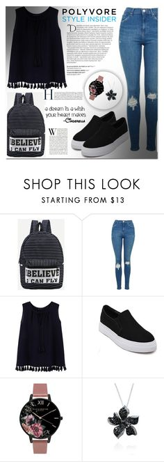 """""""#back#to#school"""" by miralemaa ❤ liked on Polyvore featuring Topshop, MANGO, Olivia Burton, Effy Jewelry, Balmain, backpacks, contestentry and PVStyleInsiderContest"""
