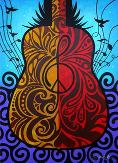 Peace Guitar Original Painting Red Purple Gold Blue by Inspireuart, $6450.50