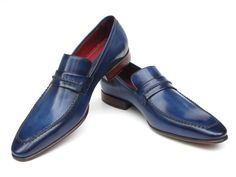 - Navy hand-painted leather upper - Finest Italian calfskin leather - Handmade half leather sole - Loafer (slip-on) shoes Men's Comes with Original box and dustbag. Because our shoes are hand-painted