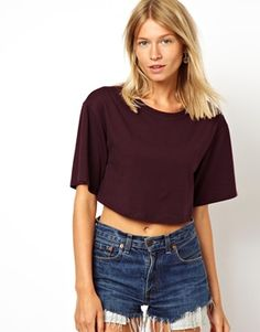 ASOS Crop T-Shirt with Wide Sleeve