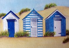 Original paintings prints and cards of the English seaside beach hut - in all the colours of the rainbow Beach Watercolor, Watercolor Landscape, Watercolor Paintings, Watercolour, Original Paintings, Beach Huts Art, Beach Art, Arte Latina, Seaside Art